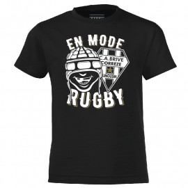 TEE SHIRT NOIR KIDS MODE RUGBY